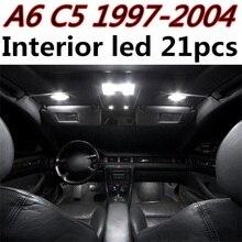 Tcart 21 шт. Бесплатная доставка ошибок авто светодиодные лампы автомобилей Подсветка салона комплект купола Лампы для мотоциклов для Audi A6 C5 RS6 аксессуары 1997-2004