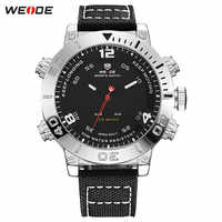 Top Luxury Brand WEIDE Men Nylon Band Watches Men's Digital Quartz Analog LED Clock Man Fashion Sports Army Military Wrist Watch