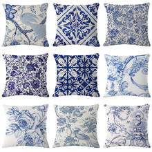 Funda de almohada vintage algodón de lino impreso funda de almohada azul cojín con flores funda de sofá cojín para cintura funda decoración del hogar