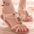 Estilo Retro Moda de Nova Verão Mulheres Sapatos Flats Branco Virar Gladiador Breve Espinha Flip-flop Sandália Das Mulheres Sandálias Planas