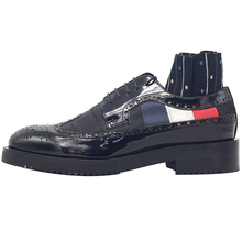 New bruck men's shoes red white and blue ribbon belt lace shoes men hand carved oxford shoes for men