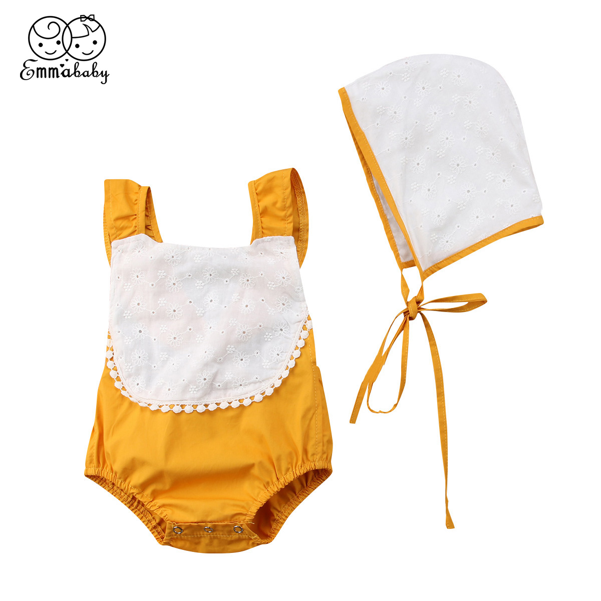2018 new sweet Newborn Baby Girls Clothes set Summer lovely lace up backless Jumpsuit Bodysuit +Hat cute kid cotton Outfit Set