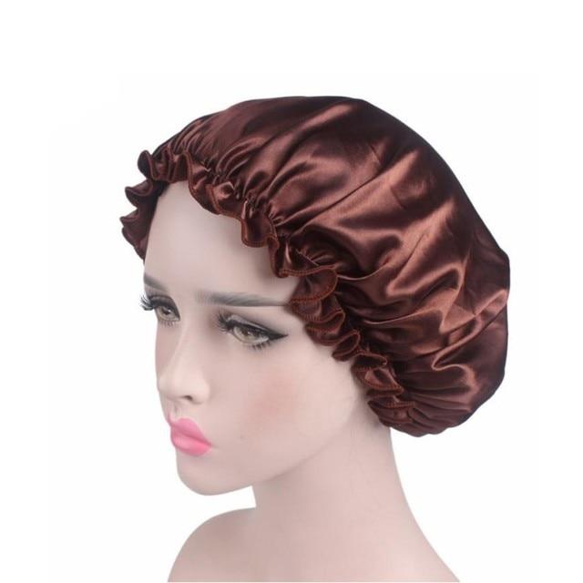 10 renk Uyku Şapka Gece Uyku Kap Saç Bakımı Saten Bonnet Kapaklar Nightcap Kadın Erkek Unisex Kap KH27