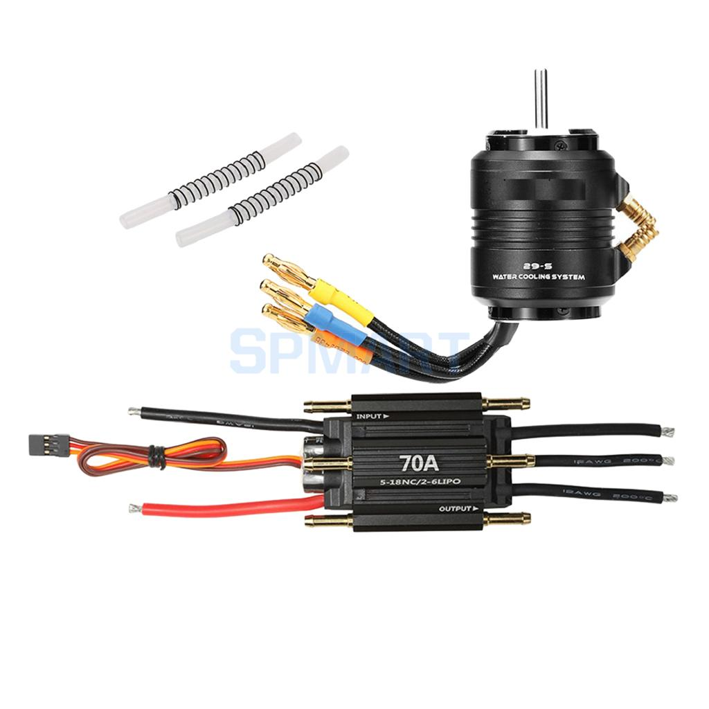 2598 4200KV Brushless Motor & Waterproof 70A ESC Combo with 29-S Water Cooling System for 600-800mm RC Boat abwe best sale 2968 3400kv brushless motor and 29 l water cooling jacket combo set for 600 800mm rc boat black