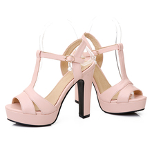 Plus size 34-43 New 2016 Summer Women Sandals Fashion Thick High Heels Party Shoes T-Strap Rome Style Ladies Beach Shoes