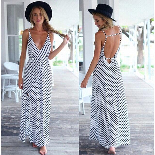 53570de0d8 Letnia Sukienka Sexy Casual Boho Plaża Długa Sukienka Czarno Białe Paski  Dekolt Kantar Pasek Maxi Sukienka