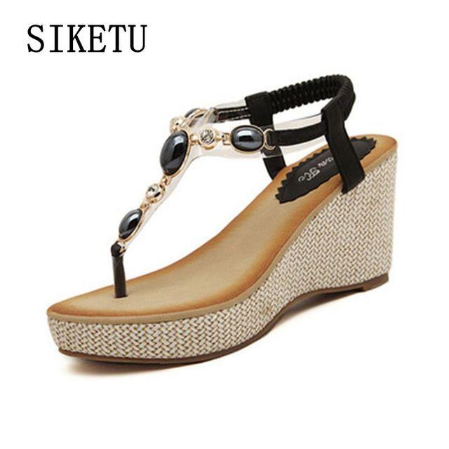 822e6ea1b8441 Summer new women fashion sandals sweet slope with comfortable wild sandals  Bohemian diamond clip toe woman shoes size 40