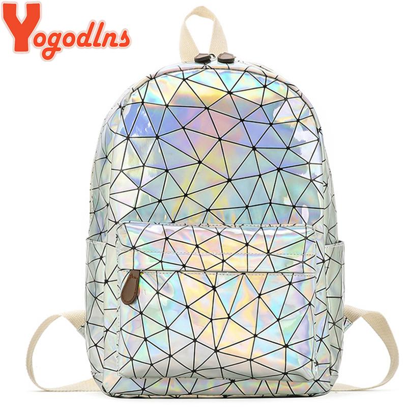 Yogodlns Geometric Holographic Backpack Travel Men Women Backpacks PVC Laser Shoulder Bag student school backpack casual
