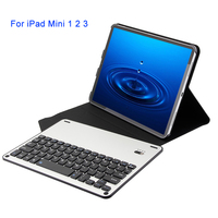 For iPad Mini 1 2 3 Keyboard Case Slim Combo Leather Case Cover With Aluminium Alloy Wireless Bluetooth Tablet PC Phone