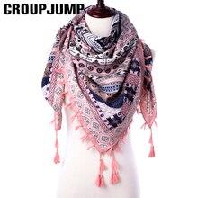 GROUPJUMP, модный шарф для женщин, шали, цветочный принт, палантины, треугольная бандана, роскошный бренд, половина платка, женский шарф, платок