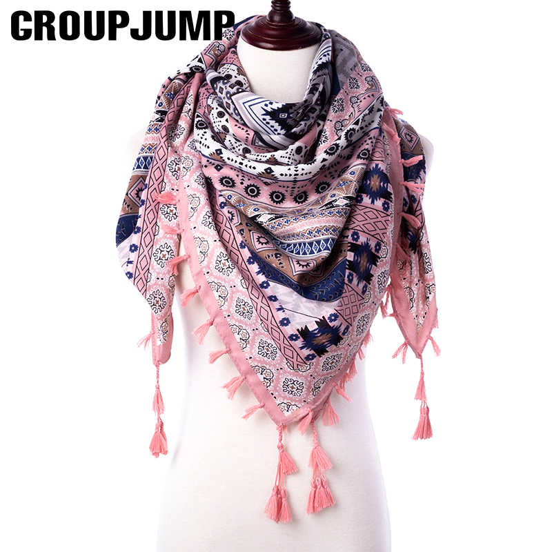 GROUPJUMP Fashion Scarf For Women Shawls Floral Print Stoles Triangle Bandana Luxury Brand Handkerchief Scarves Female Foulard