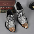 Fashion Luxury Pointed Metal toe Snakeskin Genuine Leather Mens Shoes Chaussure Homme Wedding Party Dress Men Shoes