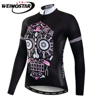 Pink Skull Long Sleeve Cycling Jersey Tops Women Mountain Bike Bicycle Jersey Ladies Cycling Shirts Spring Autumn Ropa Ciclismo
