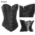 Sexy Gothic Lingerie Bustiers Black Satin Embroidered Corset Underbust Corsets Plus Size Corpete Espartilho