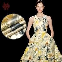 הדפס פרחוני צהוב יוקרה משי סטרץ חוט משי charmeuse בד לשמלה למתוח כבד tela tejido רקמות בד 19 מ