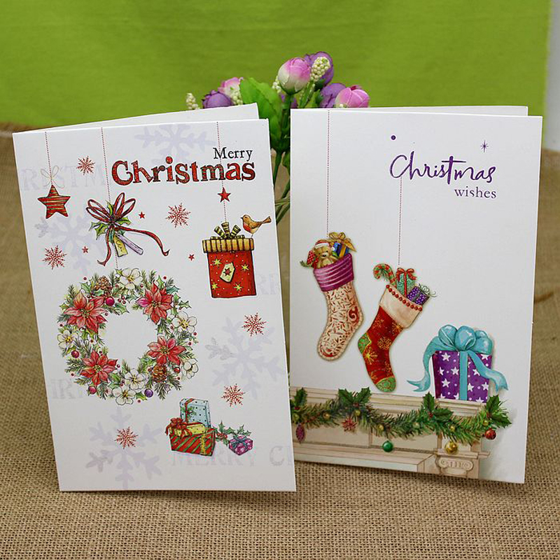 (8 pieces/set)Korea Design Hot Beautiful Cartoon Christmas Tree Greeting Cards Handmade Postcards Custom Xmas Gift Card postcard christmas gift post card postcards chinese famous cities beautiful landscape greeting cards ansichtkaarten ningbo