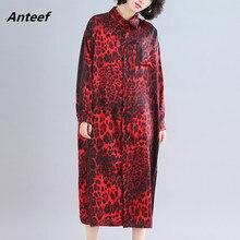 長袖綿ヴィンテージヒョウプラスサイズ女性春秋のエレガントなシャツワンピースの服 2020 女性のドレス
