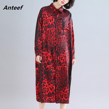 long sleeve cotton vintage leopard plus size women casual loose spring autumn elegant shirt dress clothes 2020 ladies dresses