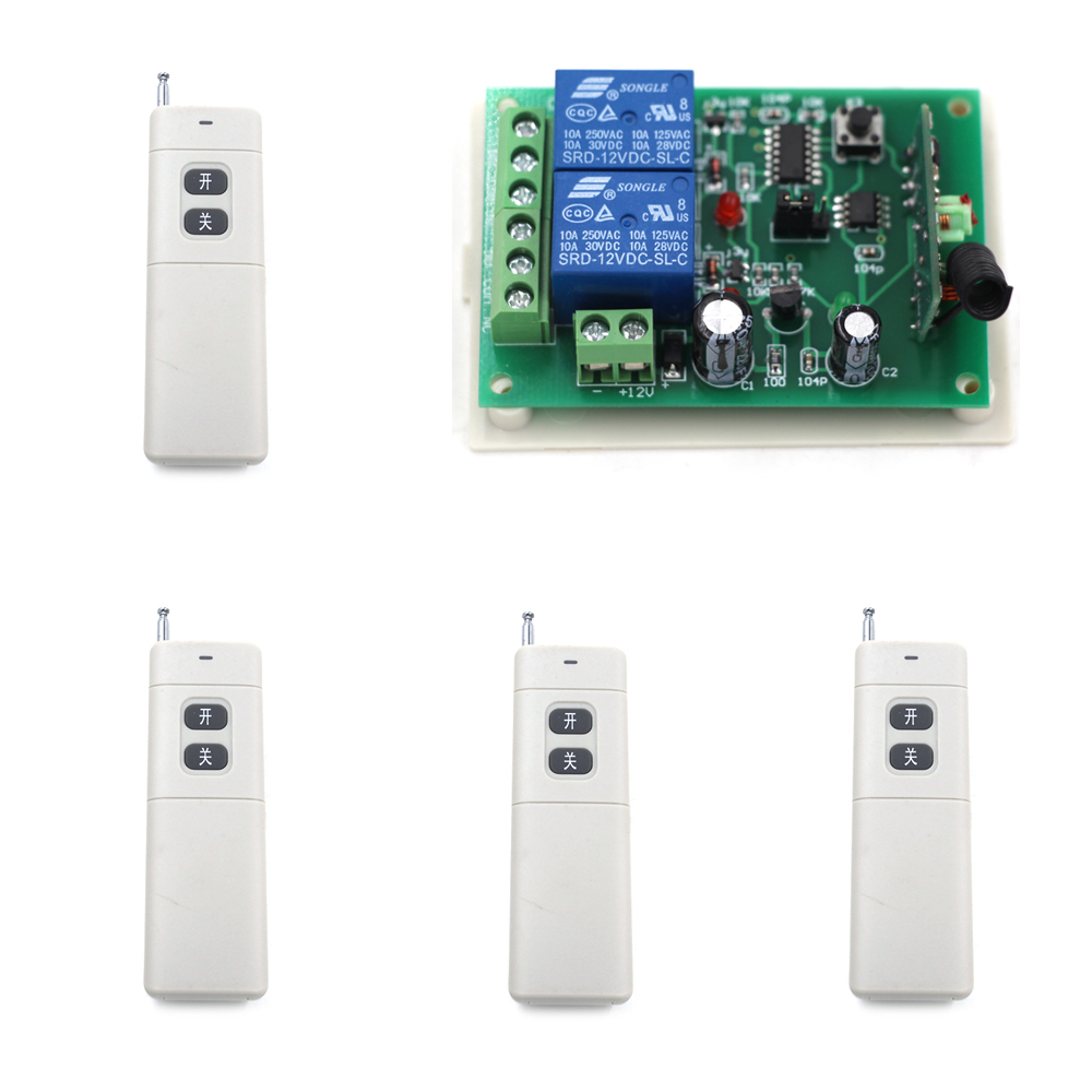 DC 24V Wireless Remote Switch System RF Remote Control Switches 2CH Relay Receiver Long Range Transmitter Learning Code 315Mhz high quality 12v 24v 2ch rf wireless remote control lighting switch receiver with 2ch relay for smart home 315mhz 433 92mhz