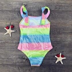 Детский купальный костюм с единорогом, Радужный принт, Цельный Детский купальный костюм для девочек, купальный костюм для детей 3-8 лет, с бле... 2