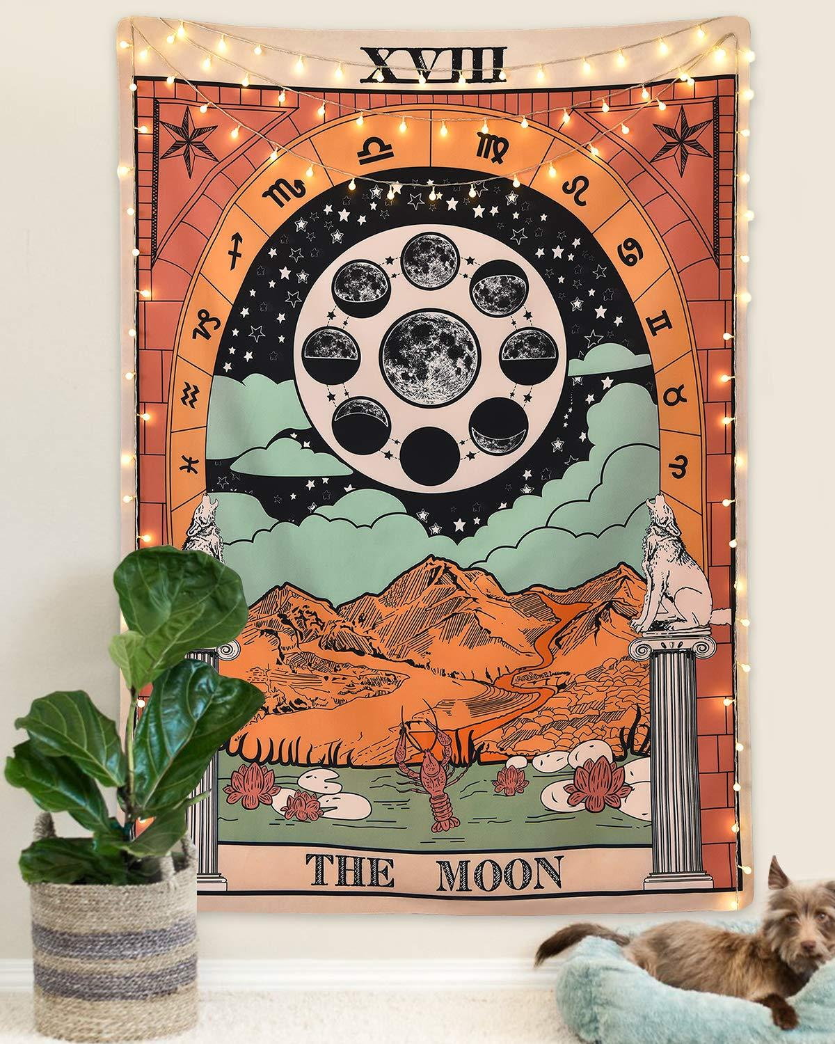 The Sun Star Moon Tapestry Wall Hanging Witchcraft Colorful Tarot Divination Tapestry For Bedroom Decor Astrology Wall Tapestry