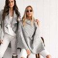 Las mujeres de Cuello Alto de Punto Jumper Sweater Batwing Poncho