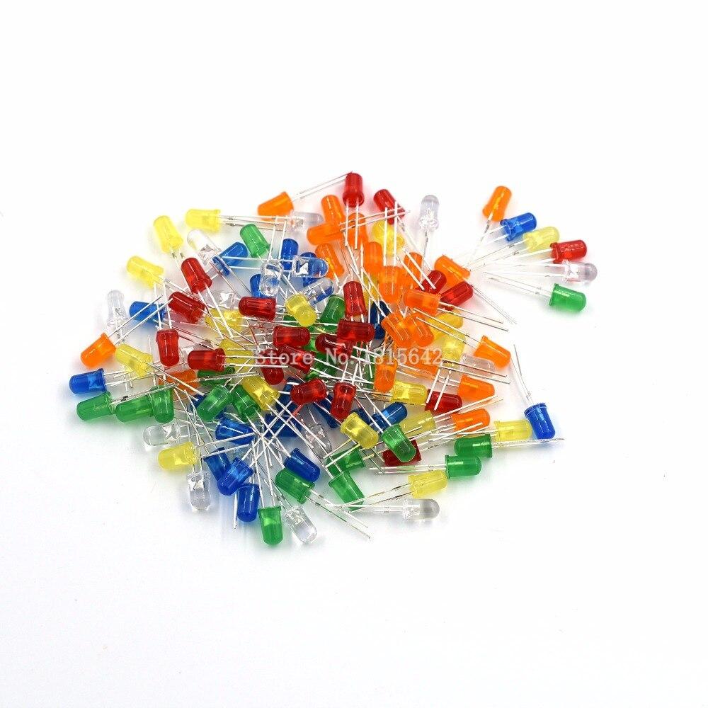 120 шт. 5 мм светодиодный светильник, набор светодиодов DIY, белый, желтый, красный, зеленый, синий, оранжевый светодиодный диодный набор, 6 цвето...