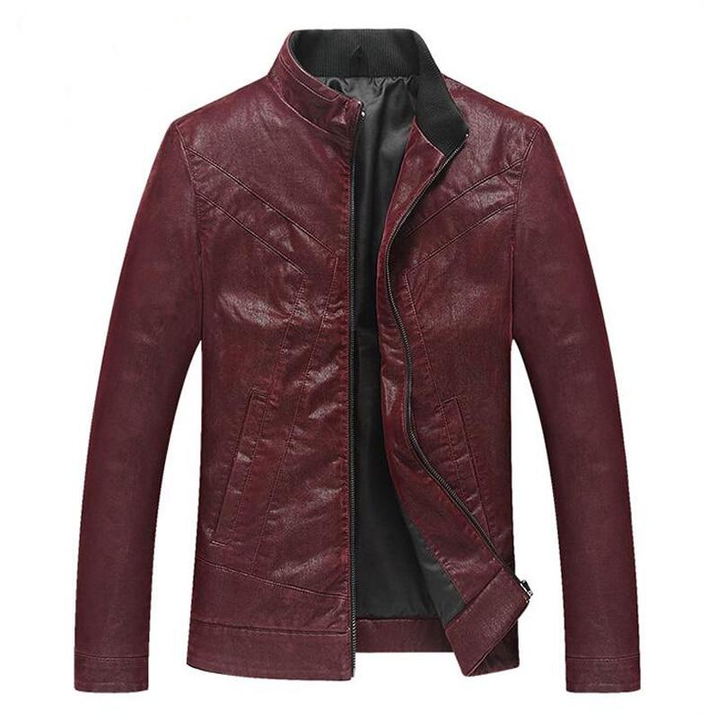 2016 Jaquetas de Couro Brazil Men's Red Leather Jackets Male Autos Biker Overcoats By Air Cool Mens Leather Blazer 3XL S1726