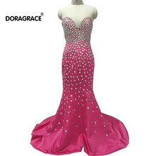 Doragrace vestidos de fiesta Real Photo Prom Dresses Crystal Evening Dress Mermaid Gowns Sweetheart Sleeveless