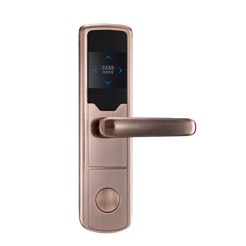 Wholesale Zinc alloy Smart Keyless Digital Electronic RFID Card Reader Hotel RF Door lock hotel lock system rfid t5577 hotel lock gold silver zinc alloy forging material sn ca 8037