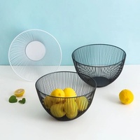 High quality Iron Fruit Tray Drain Basket Fruit Rack Storage Basket Table Kitchen Dinning Decoration