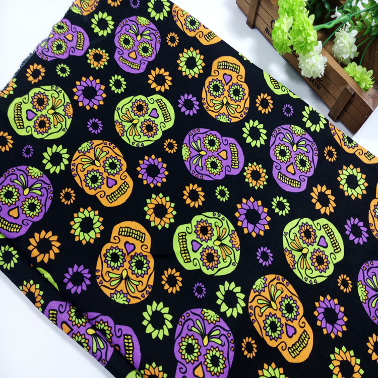 100x110cm Export Order_Cotton Plain Patchwork Cloth Skull
