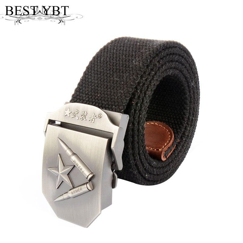 Best Ybt Unisex Canvas Belt Red Star Buckle Thickening