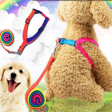 1.5 cm and 1.0 cm colorful rope, chest strap, dog traction rope, chain, lovely rainbow pet supplies цена и фото