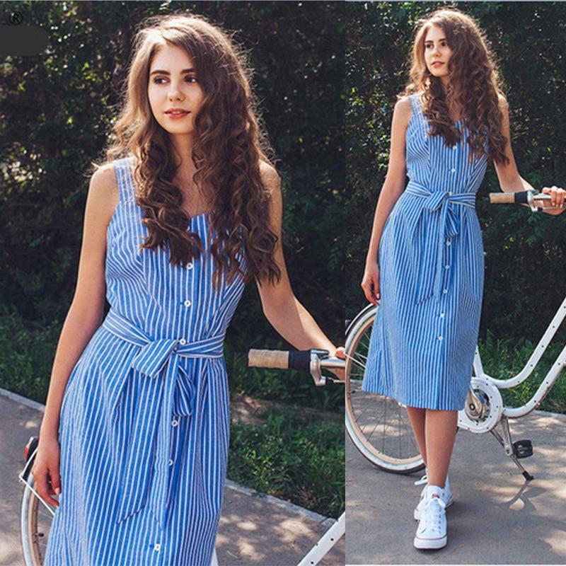 Blue Striped Summer Dress Women Sexy Sleeveless Party Dress 2019 Fashion Single-Breasted Bohemian Beach Dress Ladies Sundress