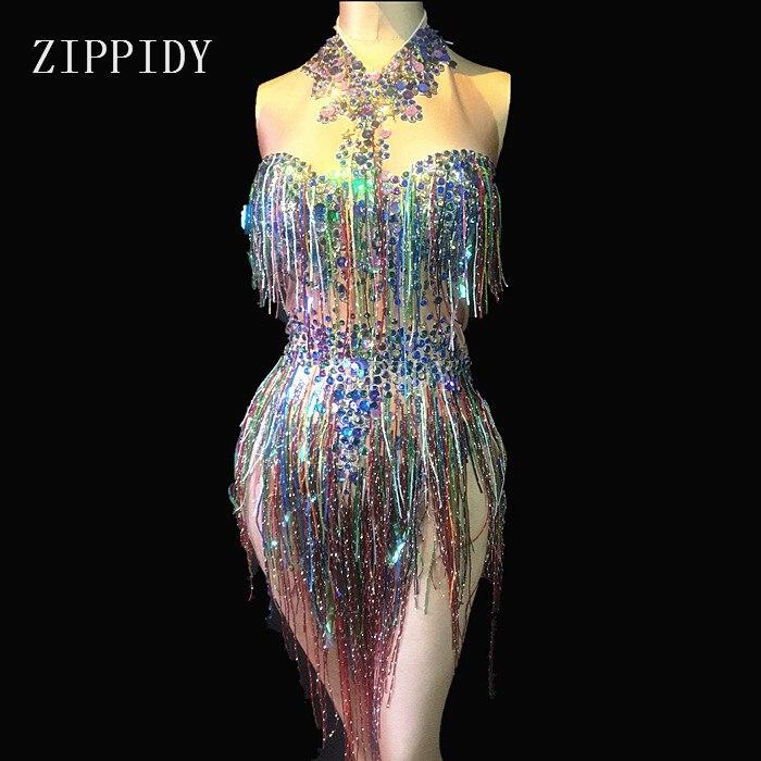 Боди с кисточками и стразами, Женский танцевальный сценический костюм, яркий купальник для ночного клуба