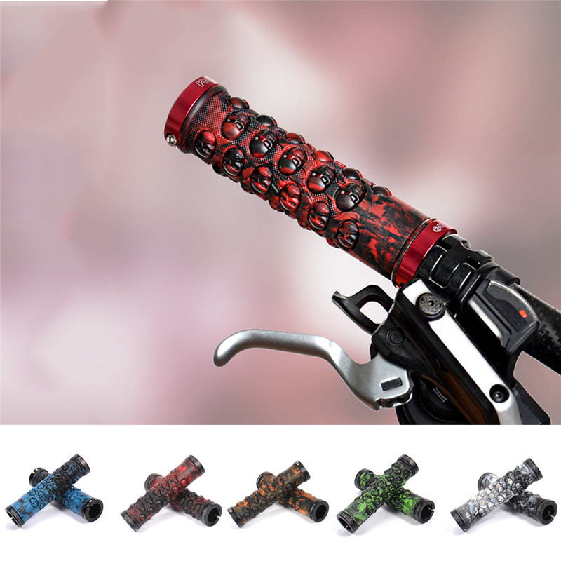 New Bike Handle Grip Mountain Bicycle Skull Mountain Bike Handlebar Handle Bar Grips Fixed <font><b>Gear</b></font> Bicycle Parts