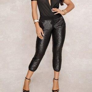 Image 3 - אופנה נצנצים מכנסי עיפרון 2020 חדש חם מוצק שחור/זהב נשים שרוך מותן בלינג מסיבת מועדון לילה עגל אורך מכנסיים