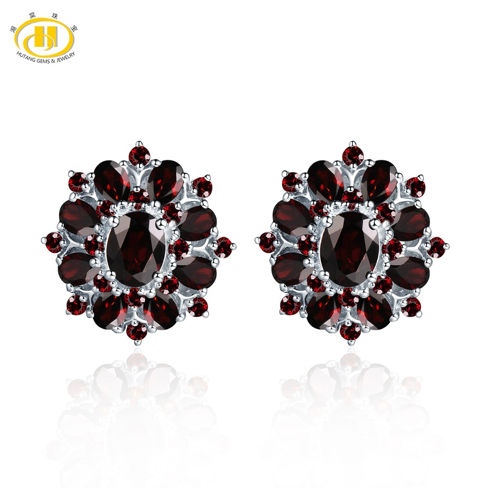 Hutang Black Garnet Clip Earrings Natural Gemstone 925 Sterling Silver Fine Red Jewelry Classic Design for