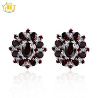 Hutang Black Garnet Clip Earrings Natural Gemstone 925 Sterling Silver Fine Red Jewelry Classic Design for Women's Best Gift New