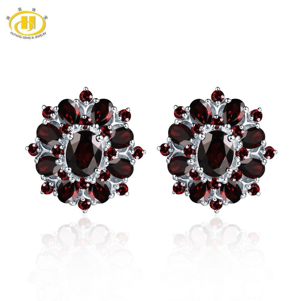 Hutang noir grenat Clip boucles d'oreilles pierres précieuses naturelles 925 en argent Sterling Fine rouge bijoux Design classique pour les femmes meilleur cadeau nouveau