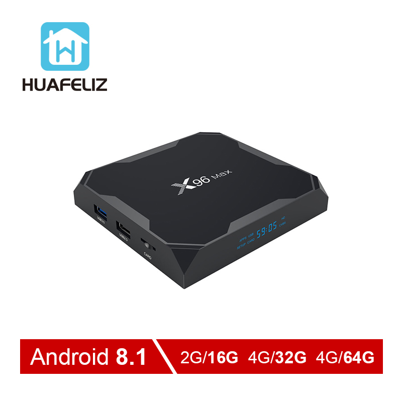 Android 8,1 ТВ коробка X96 MAX Amlogic S905X2 X96MAX 4 GB 64 GB ТВ BOX 2,4G и 5 ГГц Wi-Fi 1000 м H.265 4 K Media Player Smart BOX PK T95Q