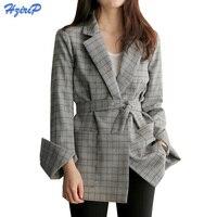 HziriP 2017 새로운 패션 격자 무늬 재킷