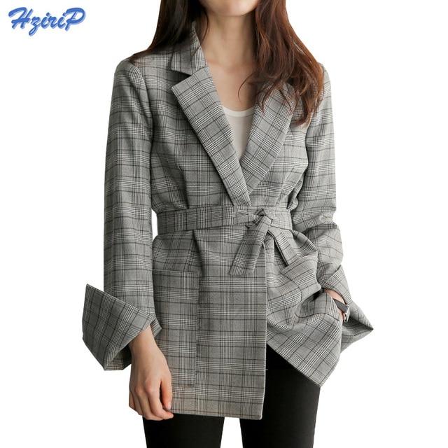58dc9bf79c8 HziriP 2017 New Fashion Plaid Blazers Autumn Winter Office Lady Casual Suit Women  Blazer Slim Elegant Work Design Coat Jacket
