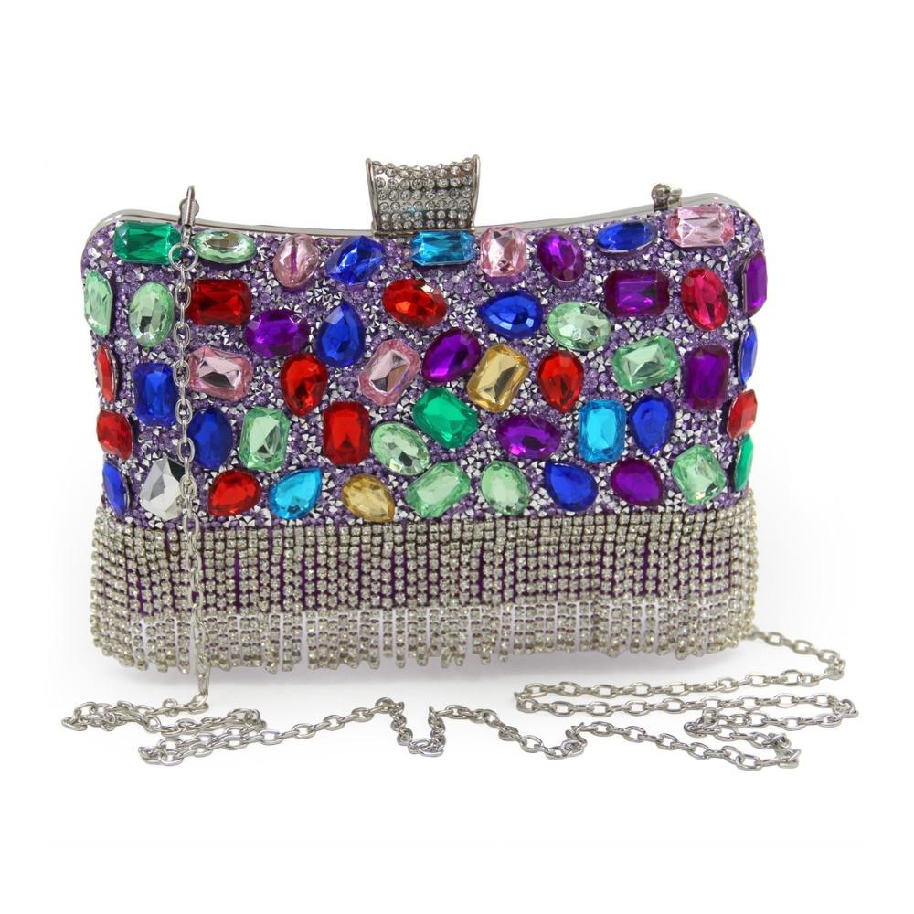 Las Mujeres de lujo Bolsos de Fiesta de Diamante Hecho A Mano Cristalino de Las