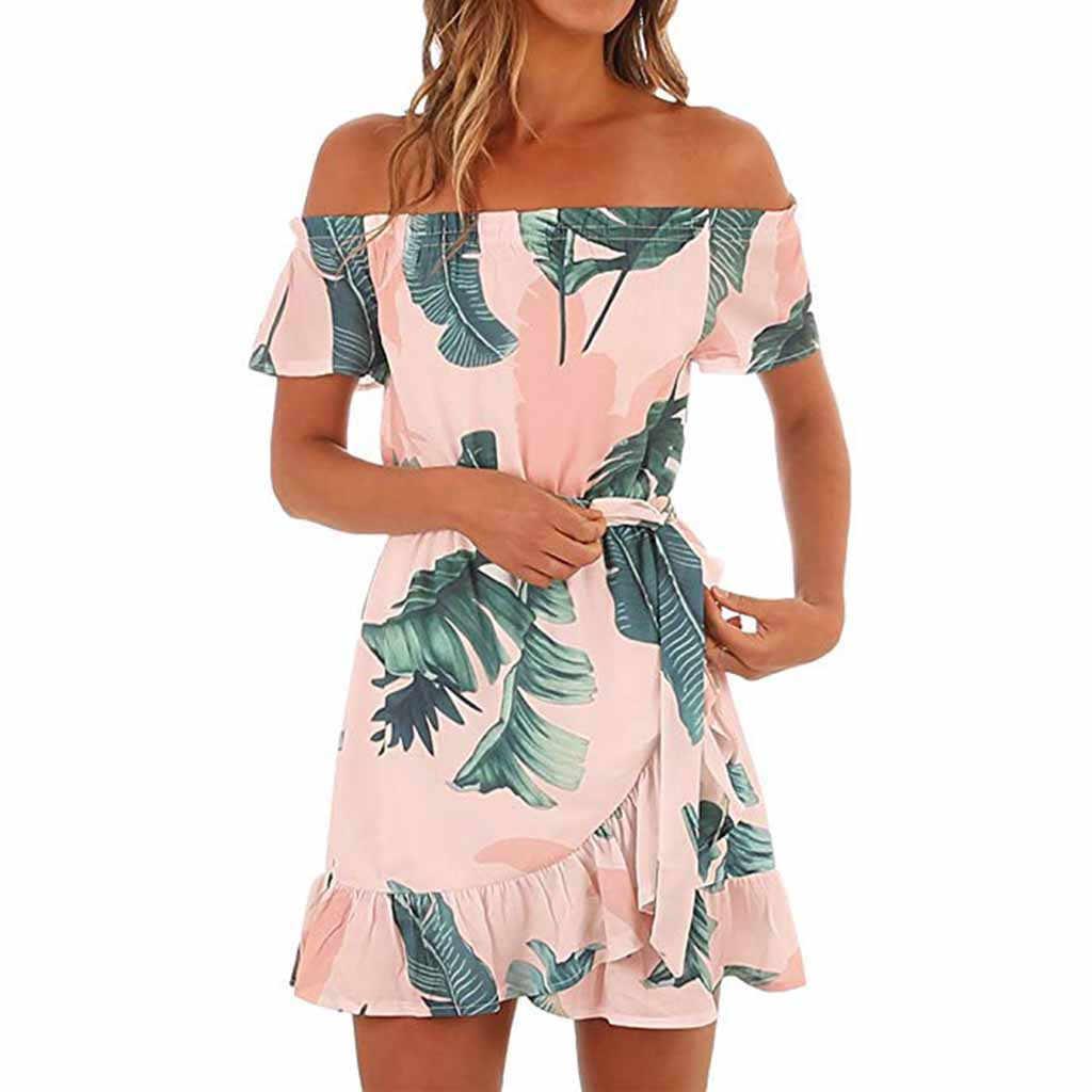 JAYCOSIN 2019 новое летнее женское платье пикантные Гавайский розовый с открытыми плечами с цветочным принтом, короткий рукавом пляжное Мини Сарафан 9032046
