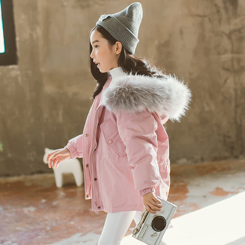 Girls cotton jackets 2018 winter new style solid color fashion thick fur collar children's cotton warm coat plus size winter women cotton coat new fashion hooded fur collar flocking thicker jackets loose fat mm warm outerwear okxgnz 800