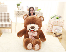 stuffed toy huge 150cm brown teddy bear plush toy bowtie smile bear doll,soft hugging pillow, birthday gift Xmas gift d2498