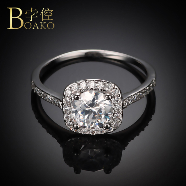 Silver Plated Wedding Rings For Women Square Simulated Zircon Jewelry Bague Bijoux Femme Engagement Ring Accessories Z4