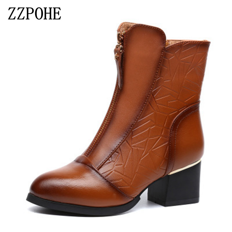 ZZPOHE 2017 New Winter Shoes Women Fashion Genuine Leather Warm Ankle Boots Ladies High Heels Short Boots Woman Pumps Shoes new 2015 woman fashion genuine leather long winter boots ladies high quality warm footwear platform women shoes boots size 33 40
